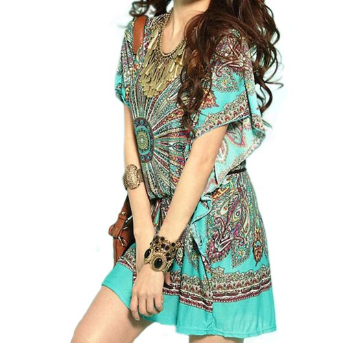 Imixcity 2015 Fashion Women Vintage Bohemian Casual Summer Batwing Sleeve Ice Silk New Dresses