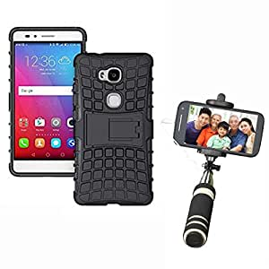 Hard Dual Tough Military Grade Defender Series Bumper back case with Flip Kick Stand for CoolPad Denzone Note3 lite + Mini Aux Wired Selfie Stick Compatible for all Mobiles Phones by Carla Store.