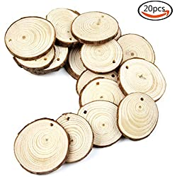 "Goodlucky 20pcs 1.6""-2"" Unfinished Predrilled Natural Wood Slices Circles with Tree Bark Log Discs for DIY Craft Christmas Rustic Wedding Ornaments"
