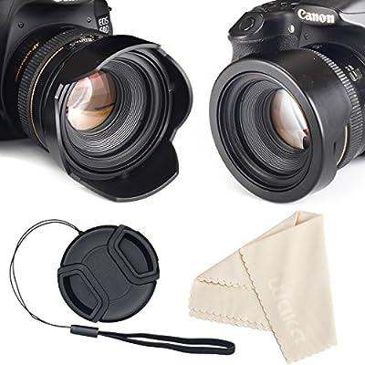 Reversible Tulip Flower Lens Hood for Canon Nikon Sony DSLR + Center Pinch Lens Cap with Cap Keeper Leash + Premium Microfiber Lens Cleaning Cloth Set