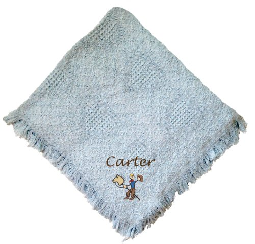 Stick Cowboy Blue 100% Cotton Custom Embroidered Personalized Baby Blanket Navy Thread front-968851