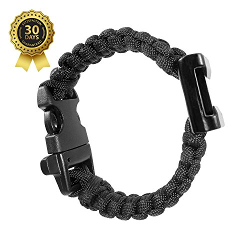 Mens Black Paracord Bracelet - Survival Gear