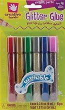 Creative Hands by Fibre-Craft 6-Pack Glitter Glue Fine Tip Pens 03-Ounce Basic