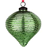 EarthenMetal Handcrafted Green Coloured Christmas Decoratives / Glass Hanging Ball-5inch