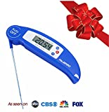 Digital Kitchen Thermometer DTH-81 with 4-Second Read and Folding Probe - Great for Cooking, Roasting, Baking, and BBQ - Blue