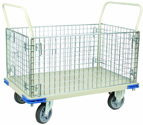 Wesco 270461 Steel Wire Caged Platform Truck, Rubber Wheels, 1100lbs Load Capacity, 40