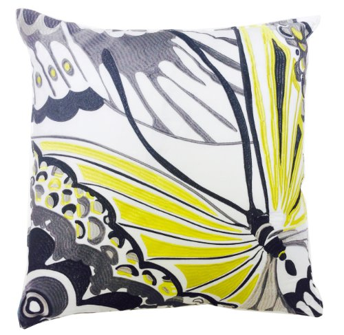 Trina Turk Trellis Black Butterfly Embroidered Decorative Pillow, 18 By 18-Inch, Black/Lime front-1055331