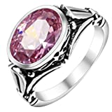 BlueTopTM Chic Platinum Plating Pink Crystal Party Wedding Engagement Oval Ring