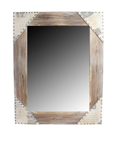 Square Wooden Mirror  [Light Brown]