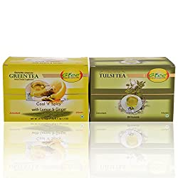 GTEE Green Tea Bags - Lemon & Ginger & Tulsi Tea Bags (25 Tea bags X 2PACKS)