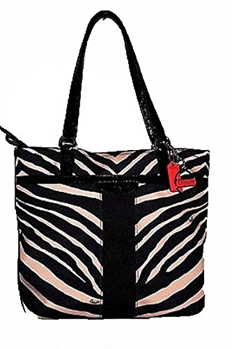Coach   Coach Signature Zebra Print Purse Tote Black/cream F23283 Sbkbk