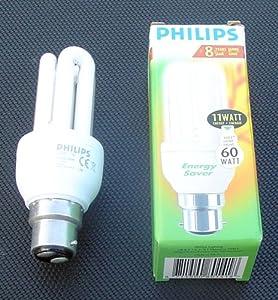 8 x 11 Watt (60 Watt equivalent light output) Philips Low Energy Saver Saving Light Bulbs Bayonet Cap BC.