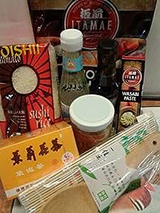 SUSHI STARTER EINSTEIGER SET 8-TLG: Mit Wasabi-Nori-Reisessig GRATIS DAZU: 1 Bambus.Reislöffel