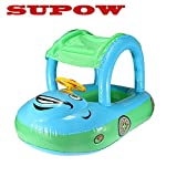 SUPOW(TM) Blue Cartoon Car Swim Float Seat Boat Pool Ring Seat With Sunshade & Canopy For Kids Baby Child Toddler Infant