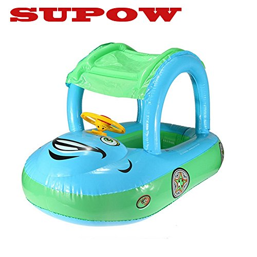SUPOW(TM) Blue Cartoon Car Swim Float Seat Boat Pool Ring Seat With Sunshade & Canopy For Kids Baby Child Toddler Infant primary