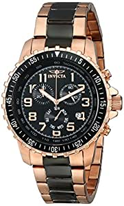 Invicta Men's 1327 18k Rose Gold Ion-Plated Stainless Steel and Black Dial Watch
