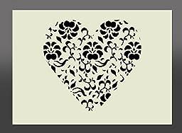 Apex Laser Ltd Shabby Chic Heart Mylar Stencil A4 297x210mm Wall Art, Furniture Stencil, Fabric Stencil