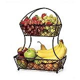 Gourmet Basics by Mikasa Lattice 2-Tier Metal Fruit Basket, Antique Black