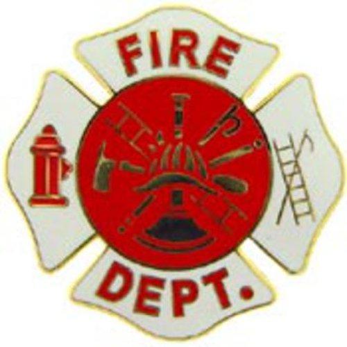 Fire Department Logo Shield Pin White 1 1/2