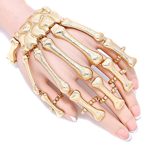 Gold Color Skeleton Hand Bone Halloween Stretchable Bracelet W/ring Hand Chain