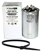 TradePro 50+5 uf MFD 370 or 440 Volt Dual Run Round Capacitor Bundle TP-CAP-50/5/440R Condenser Straight Cool/Heat Pump Air Conditioner and Zip Tie from TradePro