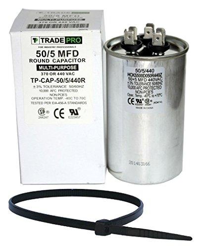 TradePro 50+5 uf MFD 370 or 440 Volt Dual Run Round Capacitor Bundle TP-CAP-50/5/440R Condenser Straight Cool/Heat Pump Air Conditioner and Zip Tie (Hvac Dual Capacitor compare prices)