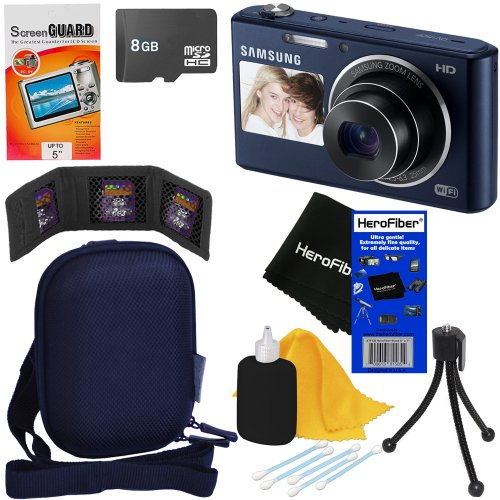 Samsung Dv150F 16.2Mp Smart Wi-Fi Digital Camera With 5X Optical Zoom And Dual-View Lcd Screens (Cobalt Black) + 7Pc Bundle 8Gb Accessory Kit W/ Herofiber® Ultra Gentle Cleaning Cloth