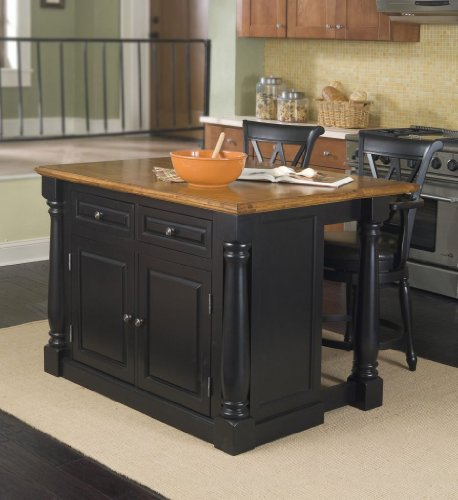 Cheap Home Styles 5008-948 Monarch Kitchen Island with 2 Stool, Black and Distressed Oak Finish (5008-948)