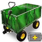 Chariot Remorque de transport jardin C�t�s amovibles sur 4 roues Charrette avec Panier metallique
