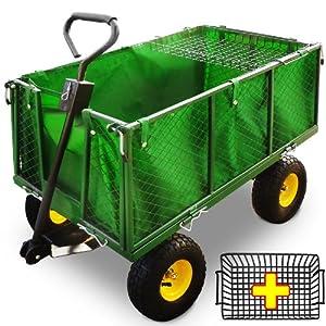 Transportwagen 544 kg inkl. Abdeckung und Ablage - Handwagen Bollerwagen Gartenwagen