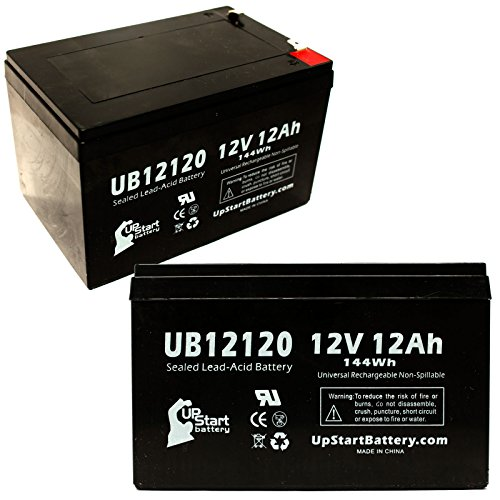 2X Pack - Bladez Electric Xtr Comp Ii Battery - Replacement Ub12120 Universal Sealed Lead Acid Battery (12V, 12Ah, 12000Mah, F1 Terminal, Agm, Sla) - Includes 4 F1 To F2 Terminal Adapters