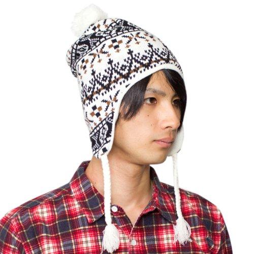 (Zaction) ノルディック柄 スノーナイトボンボン耳あて付ニット帽 白