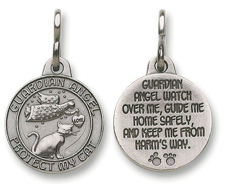 Guardian Angel Christian Catholic Protection Cat Pet Medal Charm Pendant Collar