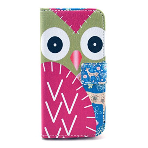 Luv You Iphone 6 Plus Case 5.5 Inch,Red Owl Blue Deer Print Series Style Lv-Yo Design Style Beautiful High Quality Luxury Premium Pu Leather Feature Flip Magnet Wallet Stand Smart Case Cover Protective With Id Credit Card Holder Slots Cute Tpu Case Fit Fo front-594923