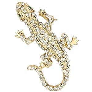 Lizard Gecko Austrian Crystal Brooch Clear A09564-1