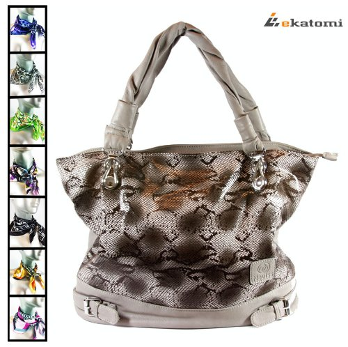 Grey Snake Skin Pattern Lady Purse Shoulder Bag Sony SGPT112US/S Wi-Fi Tablet. Includes a complimentary short scarf! *color&style varies*