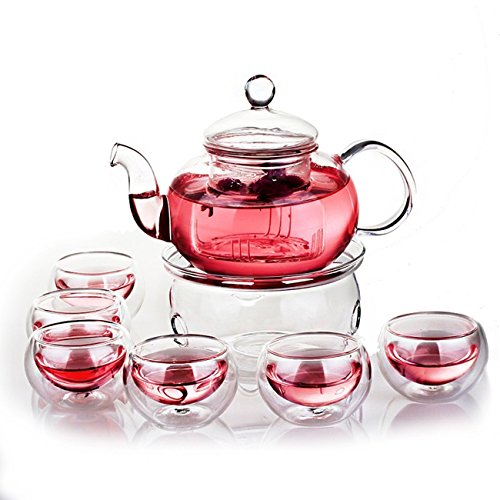 Purchase Jusalpha Glass Filtering Tea Maker Teapot with a Warmer and 6 Tea Cups Set (Version 1, 27 OZ)