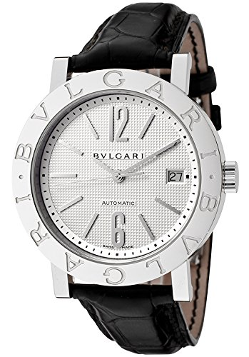 Bulgari Men's Automatic Black Alligator Silver-Tone Dial
