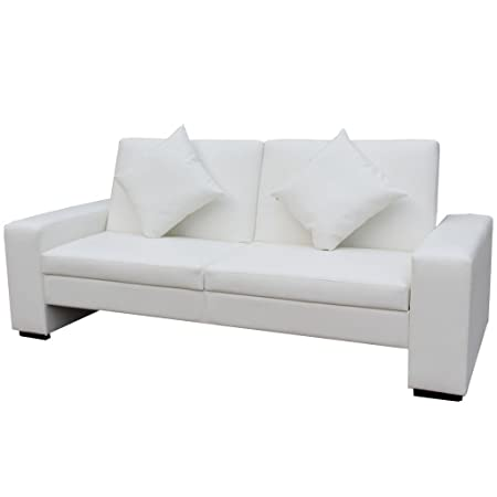 vidaXL Schlafsofa Sofa Kunstleder Bettsofa Bettcouch Schlafcouch Lounge Couch Weiß