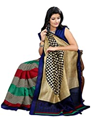 Riti Riwaz Beige & Blue Bhagalpuri Silk Casual Saree With Unstitched Blouse KNK6408B