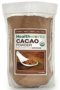 Healthworks Raw Certified Organic Cacao Powder, 1 lb