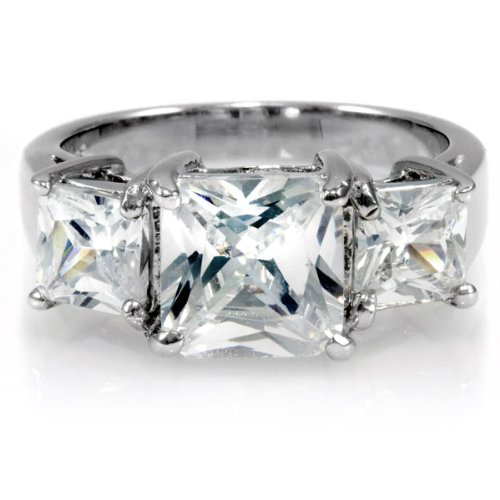 3 Stone Anniversary Imitation Diamond CZ Ring