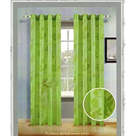 Organza Flocking Panel Curtains with Backing and 8 Grommets 60