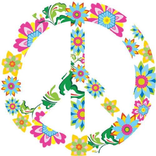 Kids Peace Sign Vinyl Wall Decal Flowers Leaves Vine