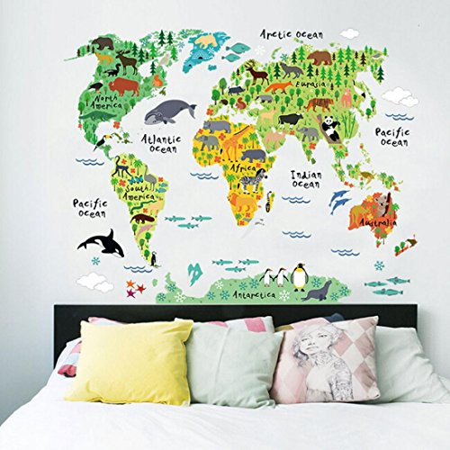 Hatop Variety Animals World Map Wall Decals Sticker for Kids Room Home Decoration (World Map Night compare prices)