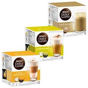 Choose Nescafé Dolce Gusto Cream Set: Latte Macchiato, Cappuccino, Au Lait, 3 x 16 Capsules from Nestlé