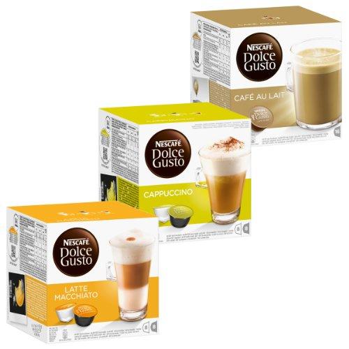 Nescafé Dolce Gusto Cream Set: Latte Macchiato, Cappuccino, Au Lait, 3 X 16 Capsules