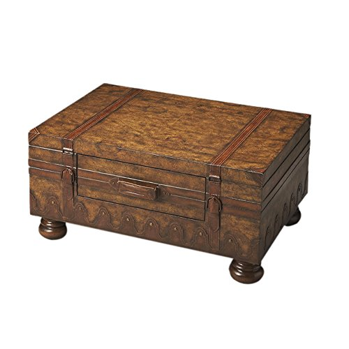 Trunk Coffee Table w Leather Appointments & World Map 0