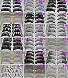 Everglamour 10 Pairs Black Natural Thick False Eyelashes Fake Eye Lashes Free Glue Make Up - 217