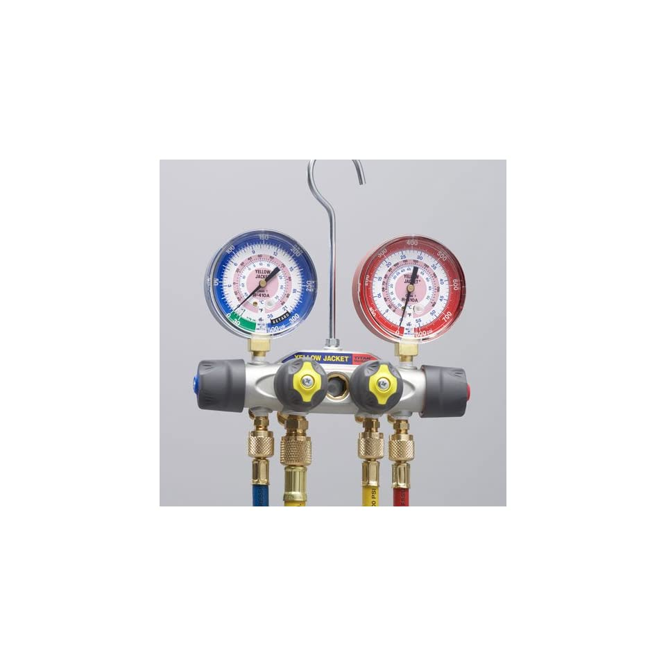Yellow Jacket 49977 Titan 4 Valve Test and Charging Manifold degrees F, psi Scale, R 22/410A Refrigerant, Liquid Gauges